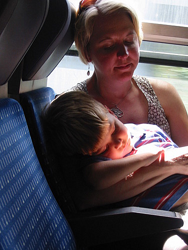 Sleeping on the train to Paris