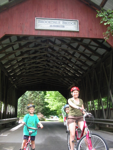 Covered bridge on the Stowe Vermont rec path