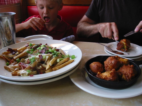 Fries and hushpuppies at the Farmers Diner