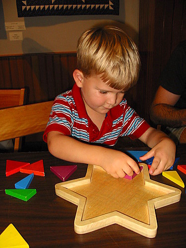 Making quilt stars out of blocks at the Billings Farm Museum