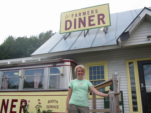 Standing outside the Farmers Diner in Quechee