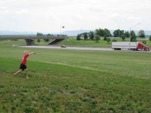 Playing catch along the Pennsylvania Turnpike