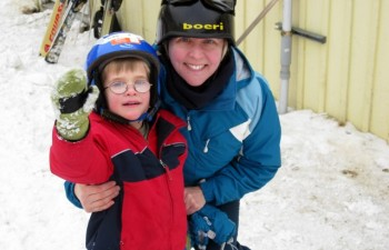Mara and Teddy skiing at Mad River Glen