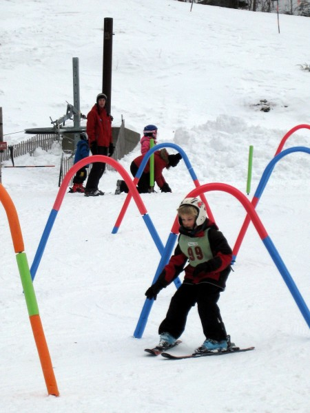 Skiing gates at Mad River Glen