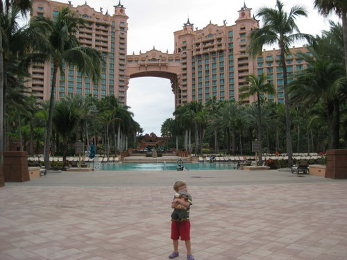 Teddy in front of the Royal Towers at the Atlantis Resort