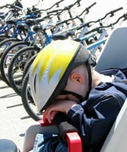 A bike seat can be a great place for a nap.