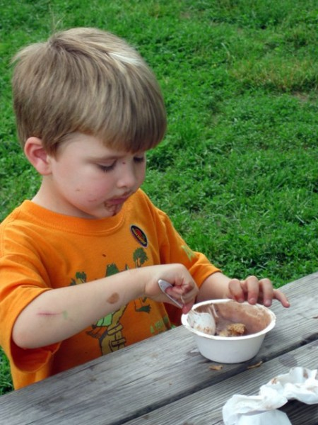 Dirt ice cream at Woodside Farm Creamery