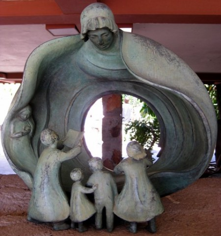 Statue of mother and children at Taliesin West