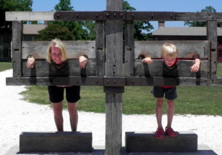 In the stocks at Colonial Williamsburg