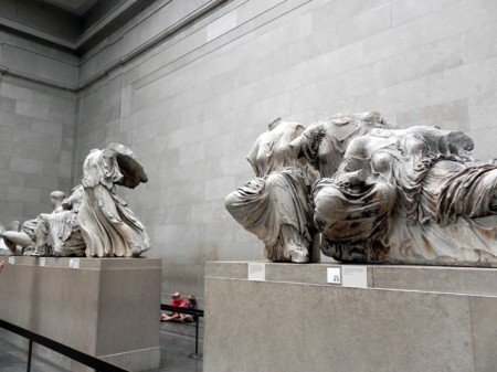 Admiring the Parthenon statues