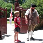 Chatting with an interpreter at Colonial Williamsburg