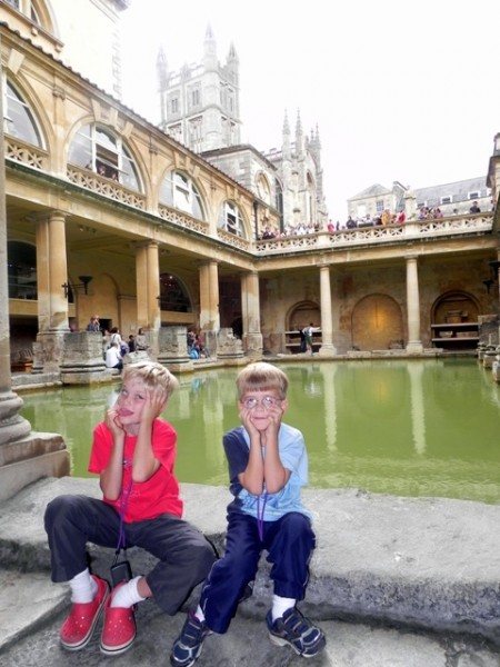 Funny faces at the Roman Baths Museum in Bath