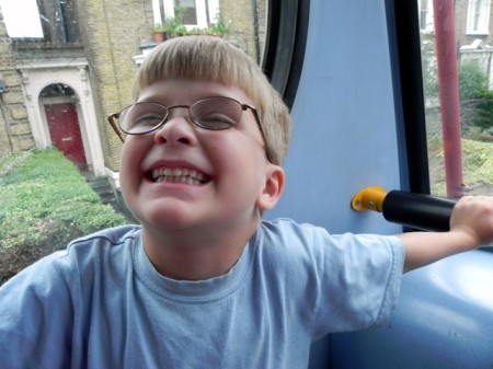 Teddy on the double decker