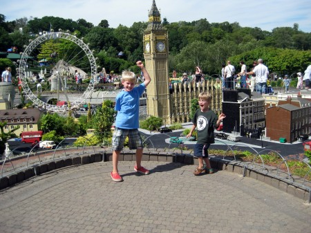 Tommy and Teddy exploring Miniland at LEGOLAND Windsor