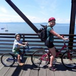 Biking on the shores of Lake Champlain