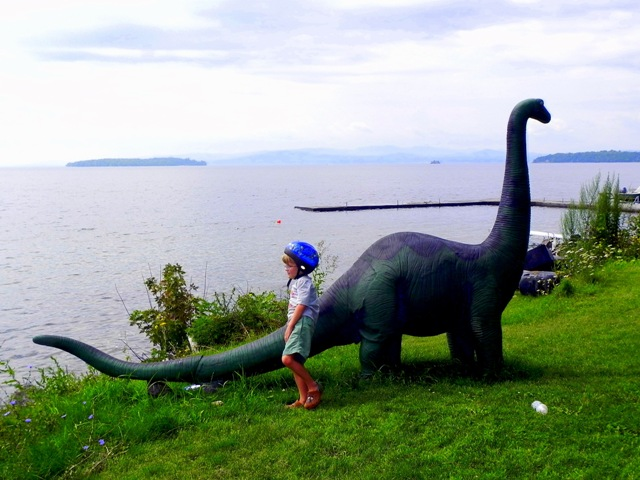 Dinosaur on the shore of Lake Champlain