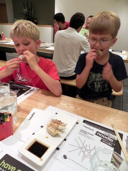 Eating gyoza at Wagamama Bloomsbury