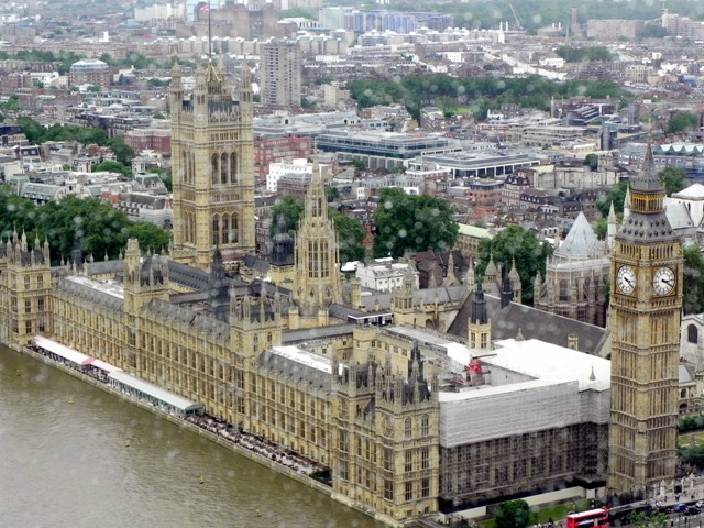 Rain-speckled view of the Houses of Parliament