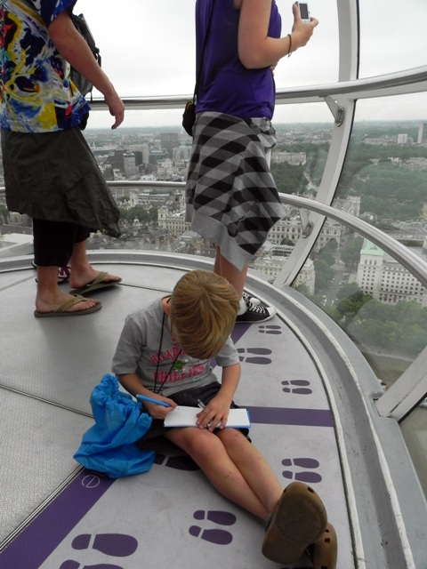 Teddy drawing in the London Eye