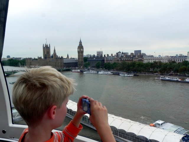 Tommy taking pictures from the London Eye