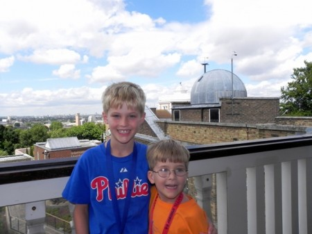 Tommy and Teddy in front of the Royal Observatory