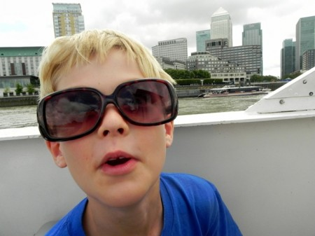 Tommy on the boat to Greenwich