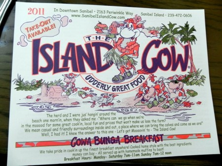 The Island Cow menu Sanibel Island