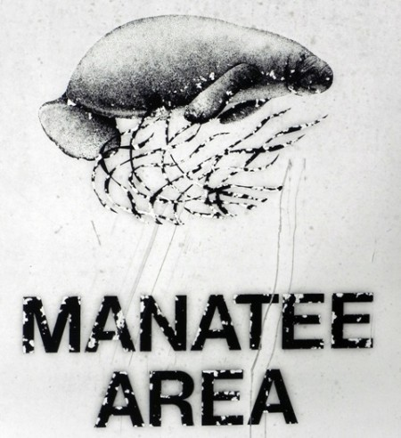 Manatee sign at the Port Sanibel Marina