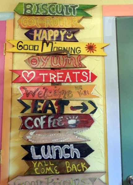 Signs inside the Heavenly Biscuit