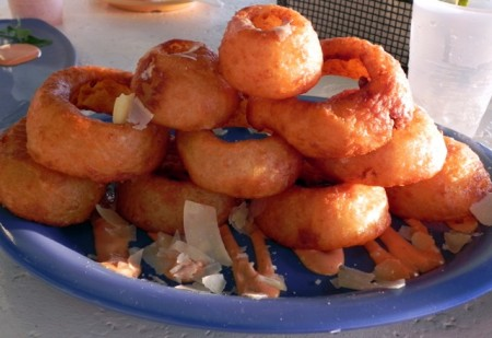 Onion rings from Jojos at the Pink Shell