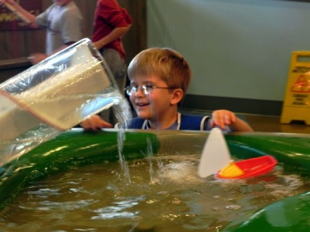 Playing with water at the Delaware Children's Museum