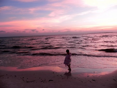 Sunset on the beach at the Pink Shell Resort