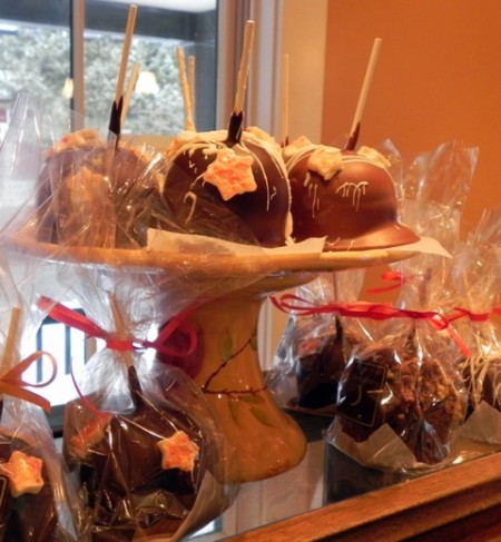 Chocolate dipped apples at Laughing Moon Chocolates