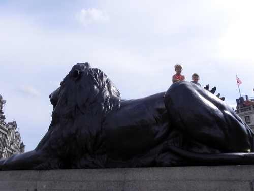 Riding the back of the lion in Trafalgar Square