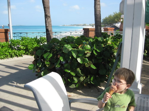 Enjoying an ice cream at Atlantis Resort Bahamas