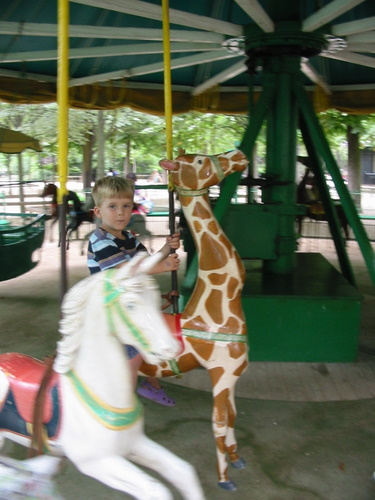 Riding the Jardin du Luxembourg carousel
