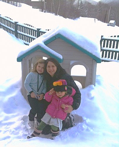 Shelly Schaffer and daughters on the mountain