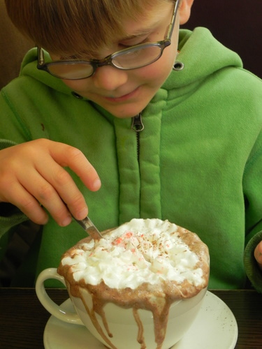 Drinking hot chocolate at Sylvester's