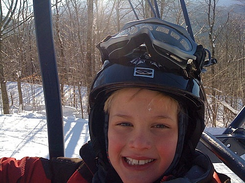 Riding the lift at Smuggs