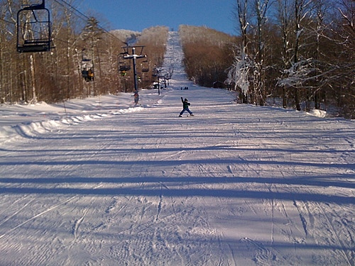 Skiing under the Mogul Mouse lift at Smuggs