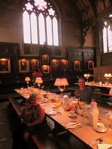 Breakfast in Keble College dining hall Oxford