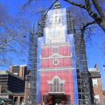 Facade of Independence Hall under scaffolding