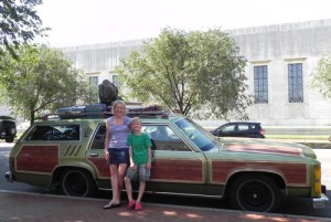 Mara and Tommy with the Homeaway Wagon Queen Family Truckster