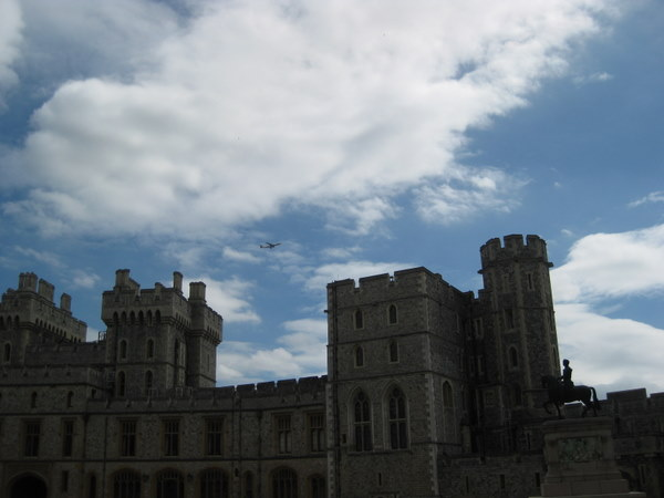 Airplane flying over Windsor Castle