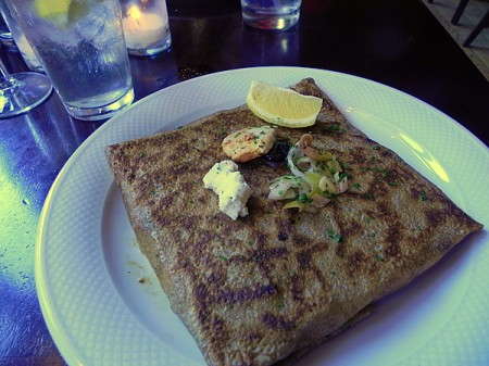 Chicken breast, leek, olive, goat cheese, and lemon butter crepe
