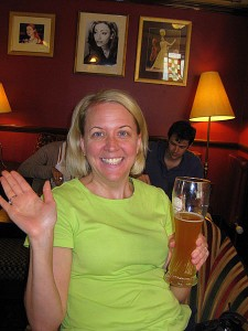Enjoying a beer at The Chandos in London