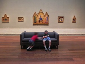 Tired kids and Italian art at the National Gallery