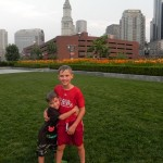 Soaking wet on the Rose Kennedy Greenway in Boston