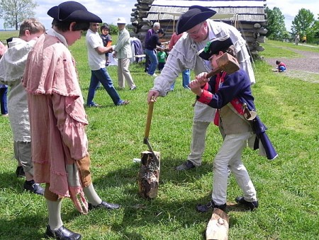 Splitting wood at Valley Forge