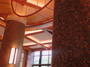 The columns in Solstice Restaurant are made from recycled wine bottles